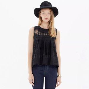 Black Dusk Semi Sheer Sleeveless Embroidered Top